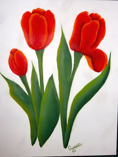 Tulips. One Stroke Painting by Susan Earl.