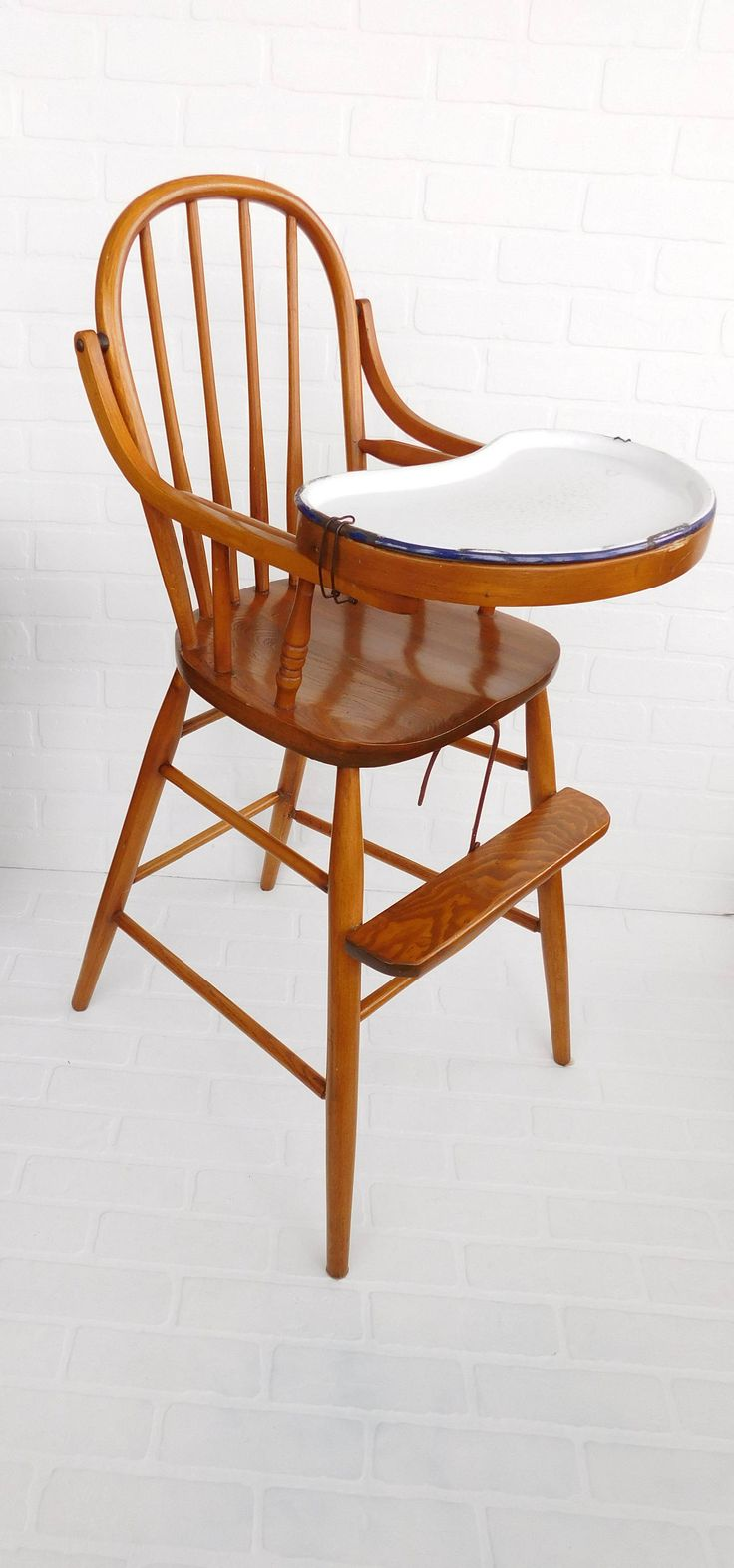 Antique wood high chair with enamel tray childs oak wood