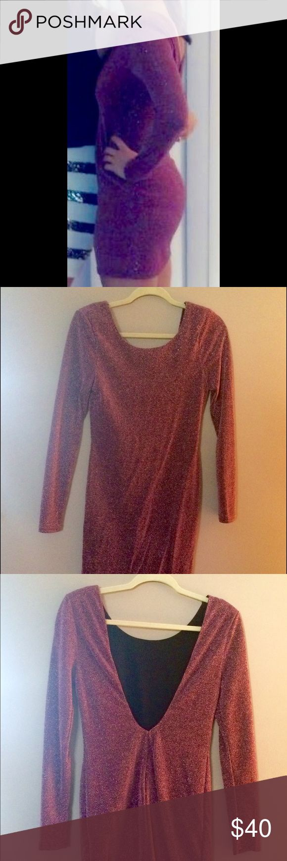 Open back pink sparkly dress Perfect for New Years! Worn once. Has small shoulder pads. Very form fitting! Lush Dresses Long Sleeve