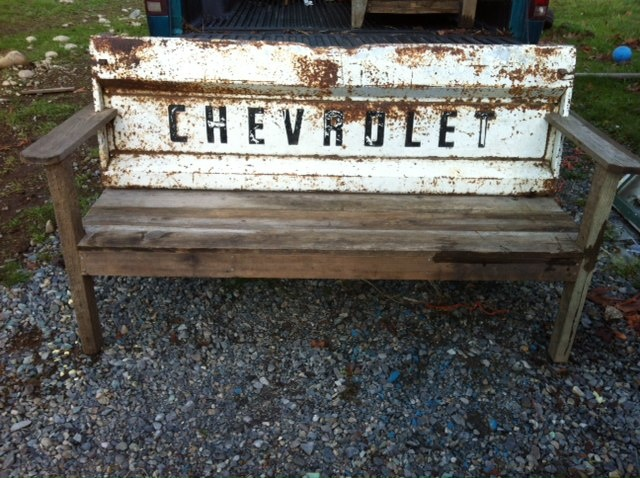 bench with a truck tailgate back (The Rusty Nail Home Decor)
