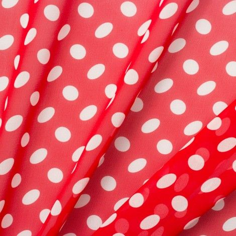 Red Oval Polka Dot Silk Georgette