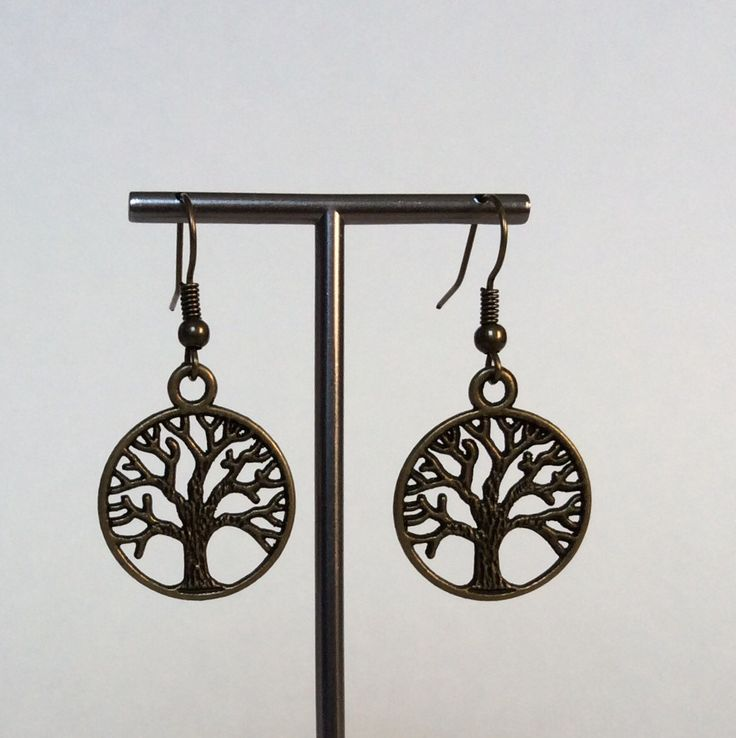 Gold Brass Pewter Tree - Of - Life Earrings, Drop Earrings, Antique Gold Earrings, Tree of Life Dangle Earrings, Vintage, Simple, Trendy by CreationsByLacieK on Etsy