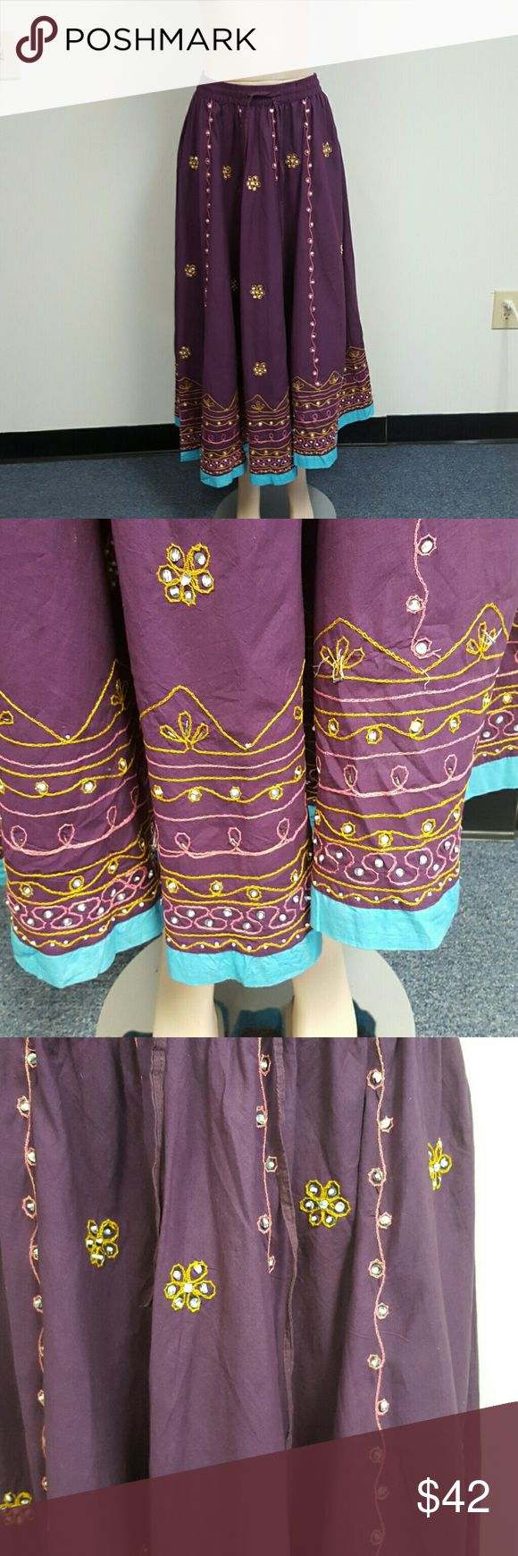 Imported BOHO embroidered skirt. Made in India. Imported BOHO embroidered skirt. Made in India. Purple with gold/pink/turquoise embroidery Raja Skirts