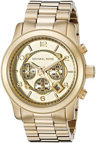 Michael Kors Men's Quartz Watch with Gold Dial Analogue Display and Gold…