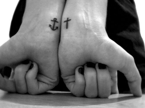 Anchor & cross tattoo. We have this hope as an anchor for the soul, firm and secure. Hebrews 6:19