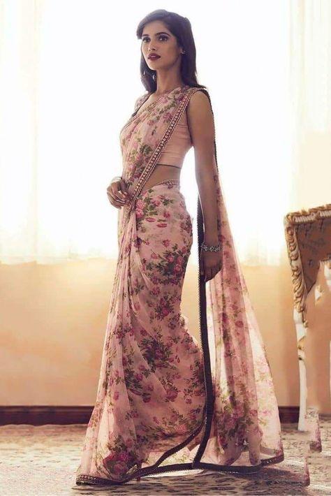 chanderi silk pink floral print saree in 2018 saree pinterest