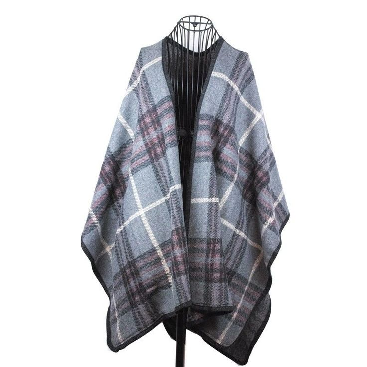 Women Knit Charcoal Gray Plaid Cape Fall Winter Spring One Size Fits Most NWT  #Simi #Cape #Everyday