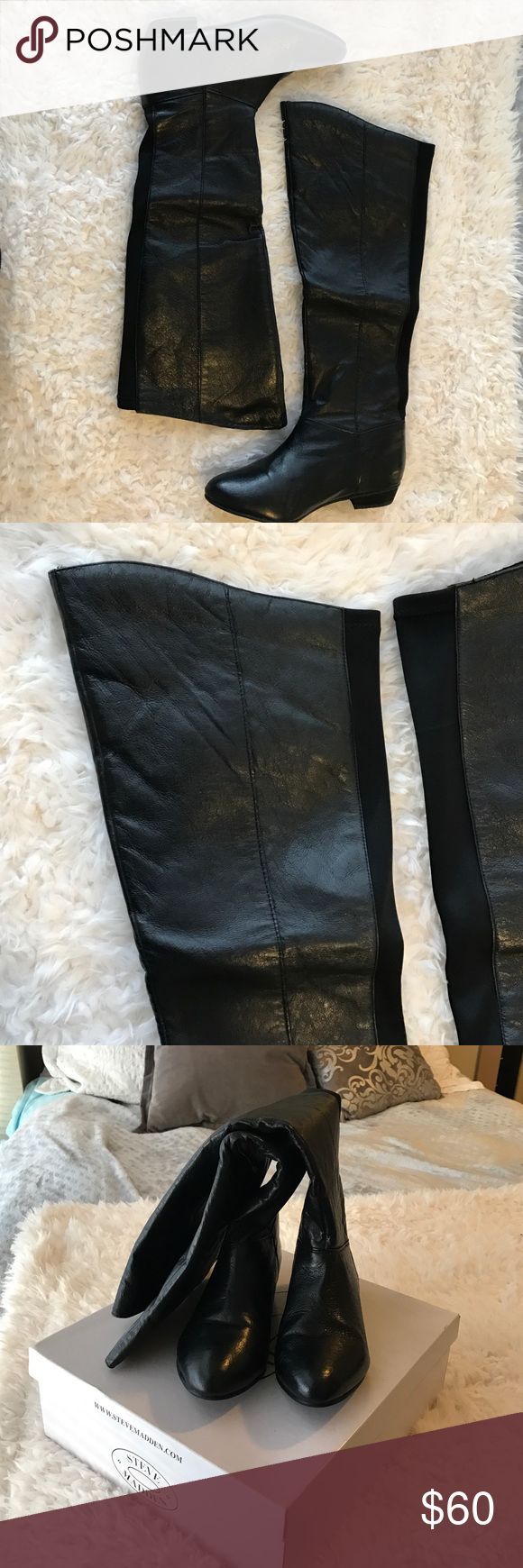 Knee high boots Steve Madden leather knee high boots with black stretch strip along the back for accent and comfort. These would look super cute with leggings or skinny jeans for every day or going out! :) Steve Madden Shoes Over the Knee Boots