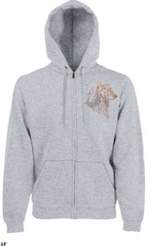 Dackelparadies - Sweat Shirt Jacke mit edelen Strassmotiv Langhaardackel