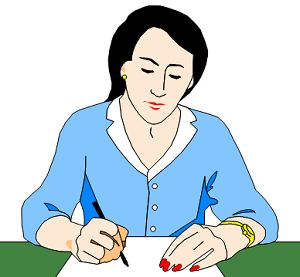 woman writing at her desk