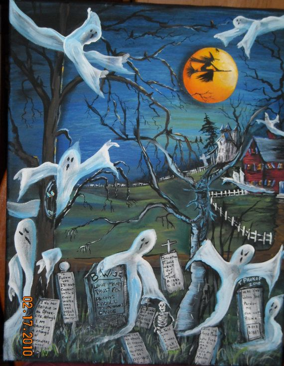 Halloween Ghosts on All Hallows Eve by NewEnglandFolkArts on Etsy, $99.99