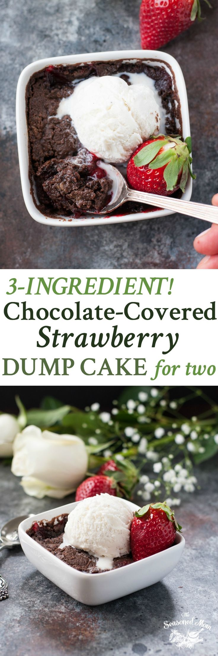 Just 3 ingredients and 5 minutes necessary for a decadent Chocolate Covered Strawberry Dump Cake for Two! The perfect easy dessert for Valentine's Day!