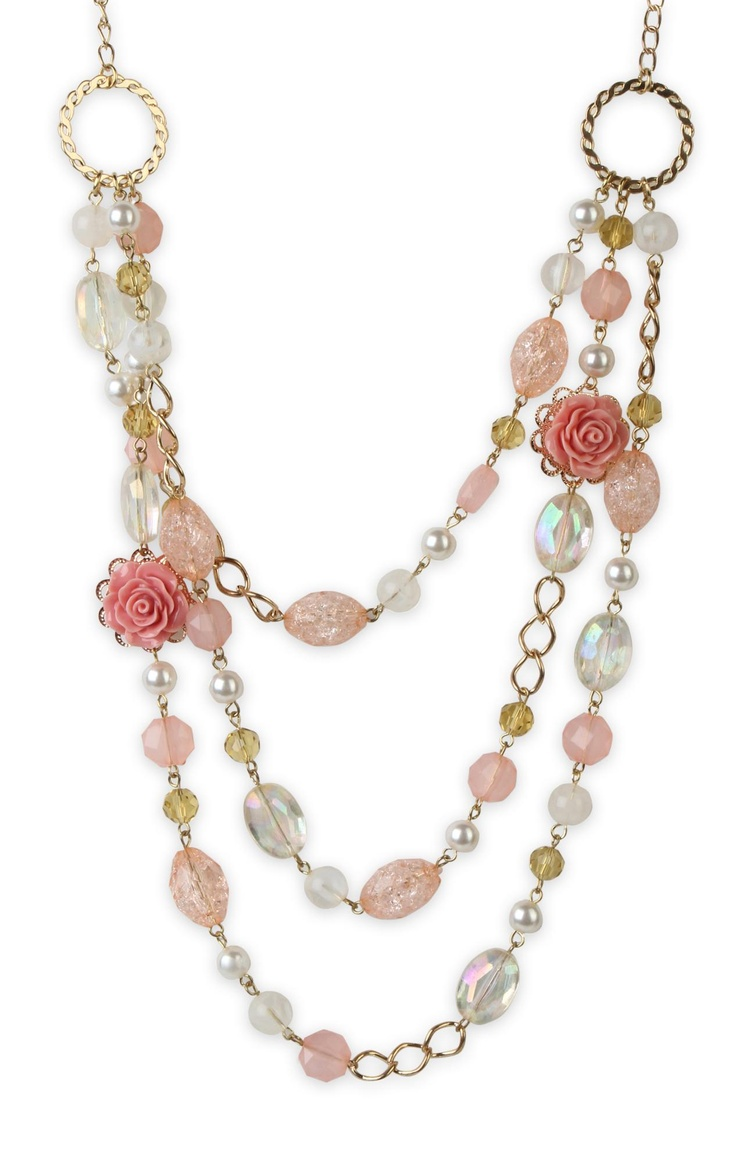 #necklace with layered chains and #rose beads $9.37
