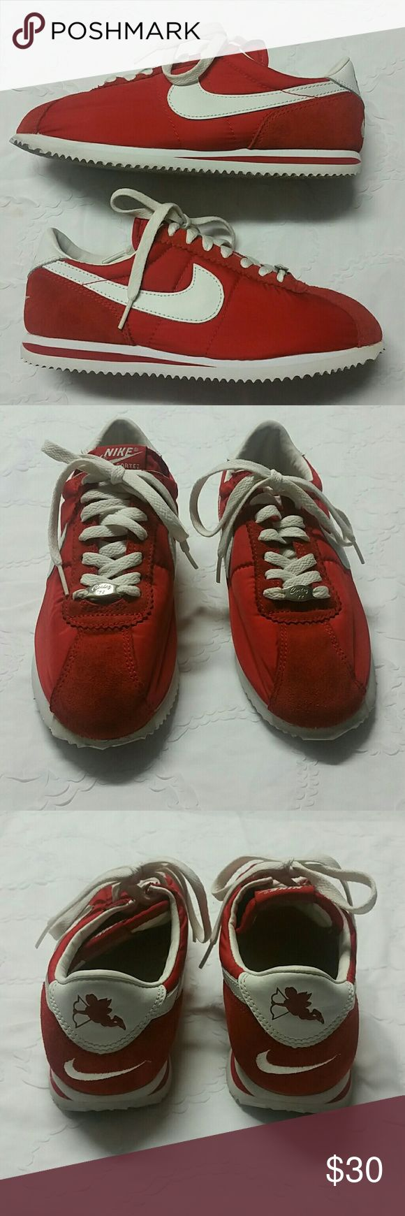 Nike Women's Classic Cortez  PRE-OWNED Red and White Nike Cortez Sneakers Size 8. Still in great condition, with just a small mark in the front (see pic). Reasonable offers, no trade. Nike Shoes Sneakers