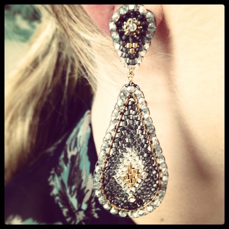 These Pyrite and Miyuki bead earrings encapsulate everything we love about art deco.