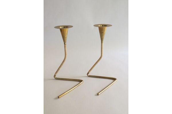 Pair Of Brass And Rattan Candlesticks By Carl Aubock, 1950s | Vinterior   #20thcentury #midcentury #modern