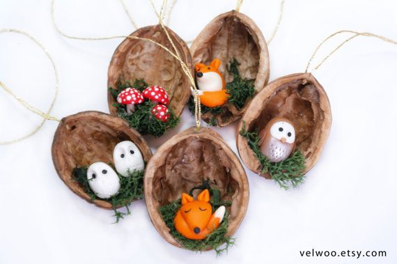 Forest Animal Christmas Ornaments, Fox owl and mushroom ornament,  walnut shell ornament , Nature Gift, woodland ornament,
