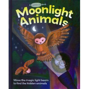 """This is a unique book with a """"flashlight"""" on every page. It is actually a white paper in the shape of a flashlight beam which you can move around, which allows you to see the nocturnal animals in their habitat. The animals are printed on a see-through plastic, and lay on top of a dark background; as you pass the white """"beam"""" under the plastic, you can see the pictures. Neat effect! This one will get destroyed if I let it circulate, so it stays on the storytime room shelf for now!"""