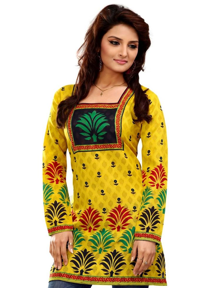Fabulous yellow color jacquard kurti with floral print and square neck.  Item code: KLXD69AEVT http://www.bharatplaza.com/new-arrivals/kurtis.html