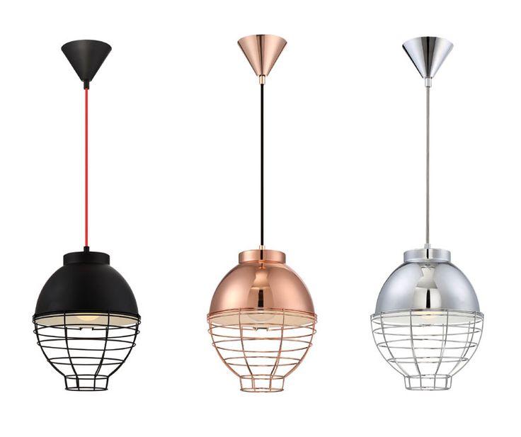 Luminaires suspendus BRAMPTON de Eurofase. Disponibles en noir, cuivre ou chrome. En vente chez INTER Luminaires.