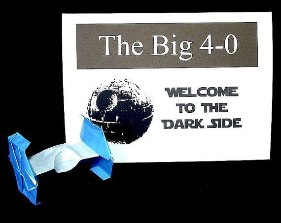 Funny Star Wars 40th Birthday Card With A Paper Tie Fighter