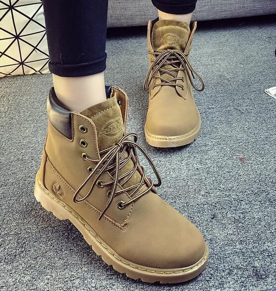 Military Desert Boots Casual Ladies High Top Ankle Boots Women's Oxford Lace Up