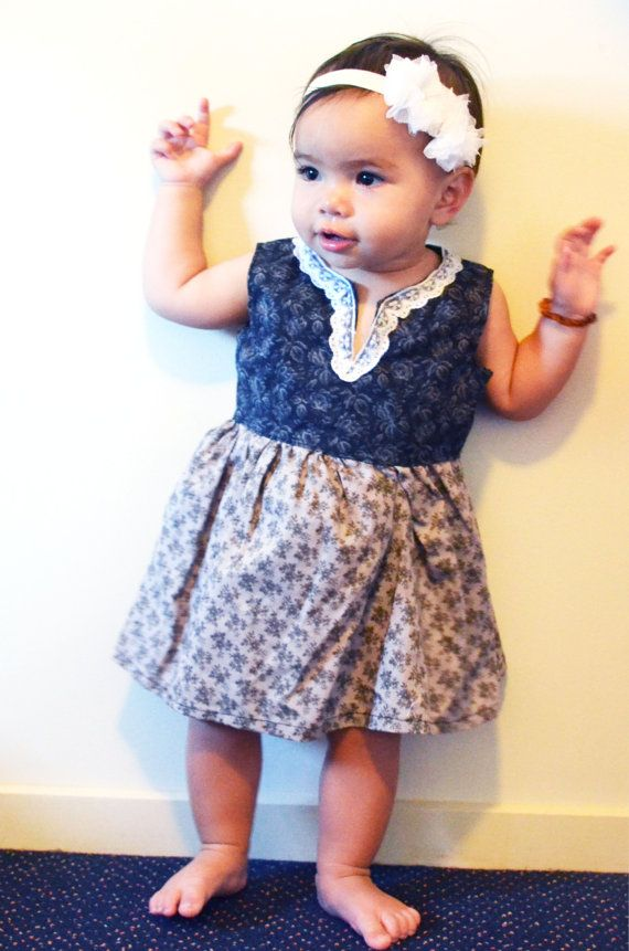 Black and grey little girls dress with by morningstardesigns2, $25.00