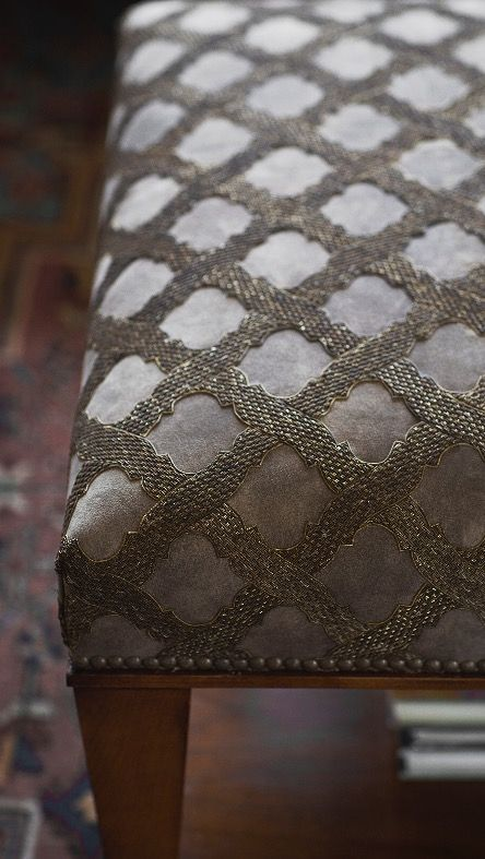 Ottoman Table in Otello Embroidery on Antique Grey Suede.