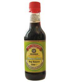 Glutenfri soyasaus. Finnes i de fleste dagligvarebutikker.