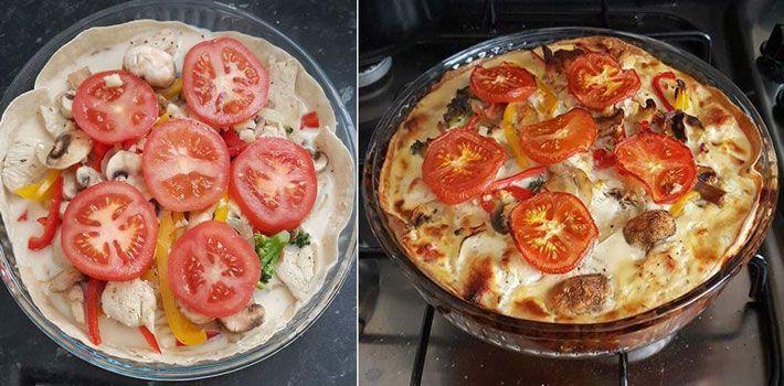 Quiche au poulet dans des galettes Wraps Weight Watchers, recette d'un délicieux plat complet facile et rapide à faire pour un repas léger à l'improviste.
