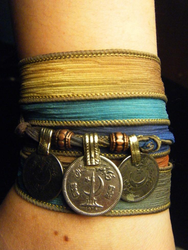 Colors of the Wind Boho Silk Wrap Bracelet w/Tribal Kuchi Coins, Gypsy, Bellydance, Yoga Bracelet, Multicolor w/Copper Accents. $22.00, via Etsy.