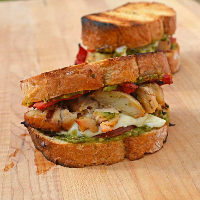 Grilled Pesto Chicken Sandwiches. I made them without marinating the ...