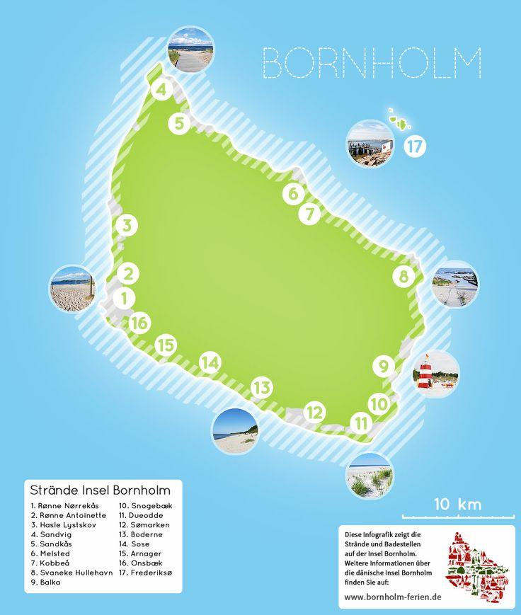 Karte der Stände und Badestellen auf der dänischen Insel Bornholm #karte #strand #badestelle #insel #bornholm #ostsee #daenemark