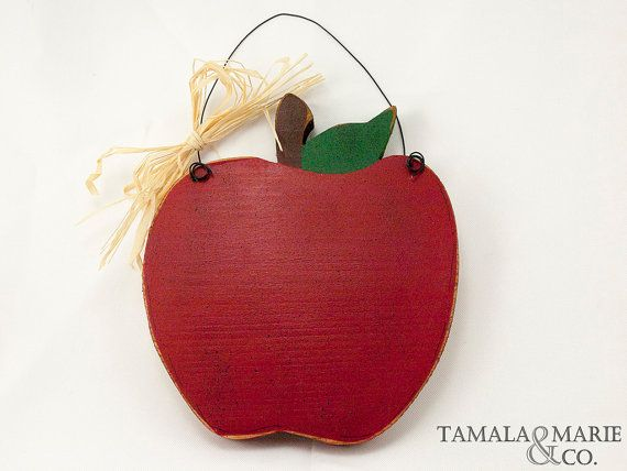 Wooden Red Apple Sign  Country Primitive Apple Door by TamalaMarie