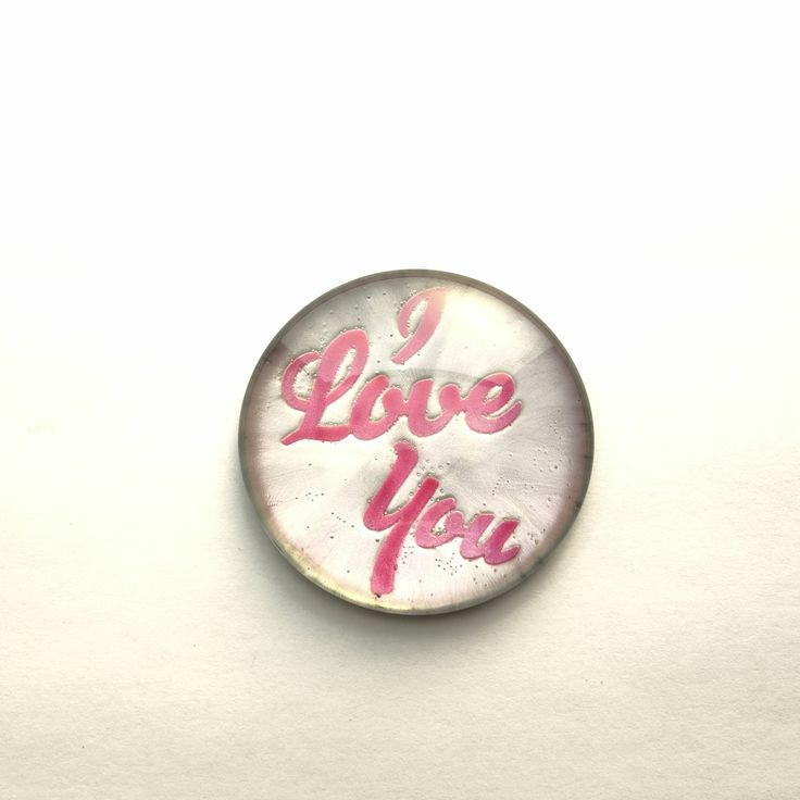 """Valentine's Day """"I Love You"""" Pink and Silver Hand Painted Round Glass Cabochon, 1.5"""" (38mm), Pendant, Unique, Key Chain, by TheChaoticMindStudio on Etsy"""
