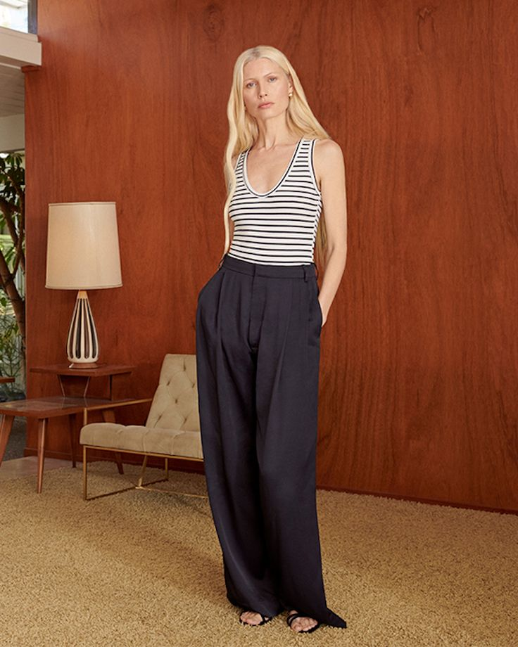 Kelly Wide Leg Trouser: If you had to pick one pair of pants to wear the rest of your life, these polished trousers have to be on the shortlist. Tailored from a drapey twill with gentle front pleats (incredibly flattering), the slim waistline flows into striking wide legs for an effect that's sophisticated and leisurely—prime for sandals, sneakers, heels...you name it. #GLabel, March edition