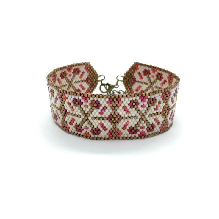 Large bracelet manchette en perles tissées japonaises, idée cadeau anniversaire femme, saint valentin, géométrique