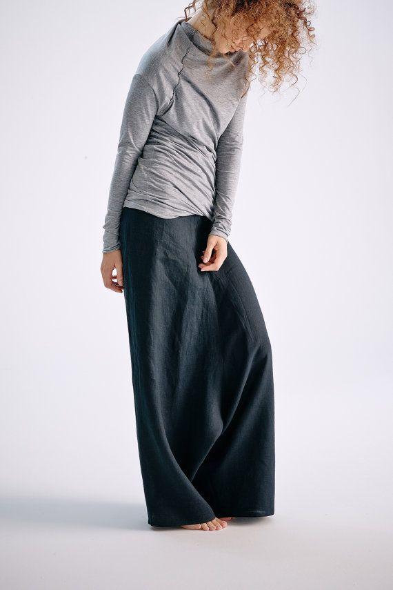 Black Linen Pants/ Extravagant Drop Crotch Black by AryaSense
