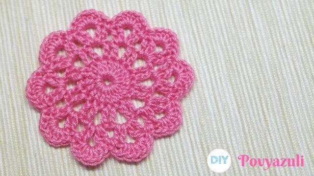 DIY Crochet and Knitting Povyazuli: [Crochet] How to Crochet a Cute Flower Motif.