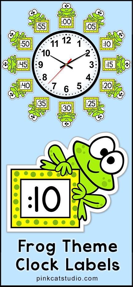 These fun frog theme clock labels will look fantastic around your classroom clock! The polka dot frames and silly frog characters are sure to inspire your students to practice telling time. Worksheets are also included. By Pink Cat Studio.