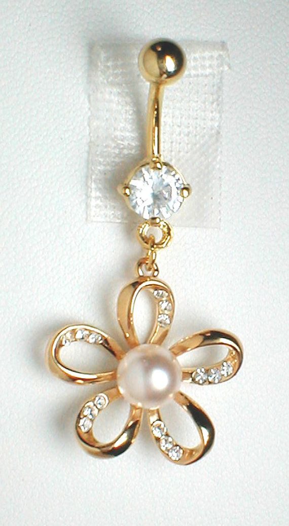 Unique Belly Ring  9K GF Flower with CZ'S and a by pondgazer2004, $14.95