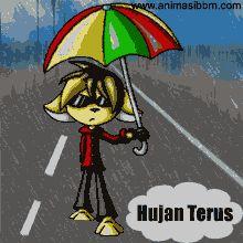 Animasi Dp Bbm Bergerak Hujan Kartun Lucu pakai Payung