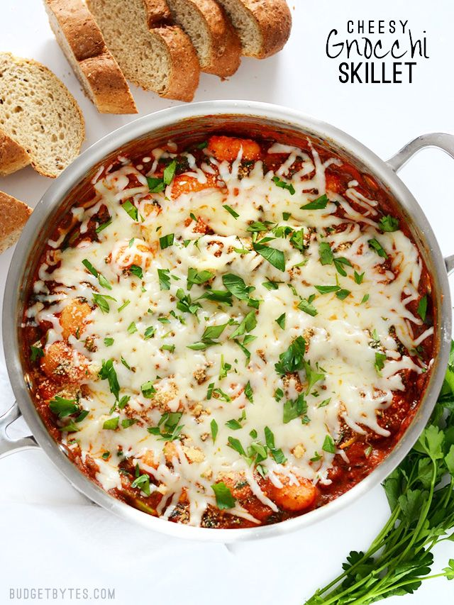 This Cheesy Gnocchi Skillet is comfort food at its best. In less than 30 minutes, you can have a warm, savory, and cheesy meal ready to satisfy. @budgetbytes