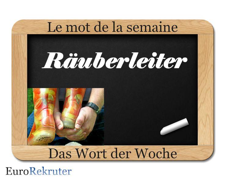 """""""Räuberleiter"""" ou comme on dit en français la courte échelle, est une technique pour faire de l'escalade où deux personnes s'aident mutuellement. Une personne plie les mains pour créer une marche. L'autre personne pose son pied sur cette marche pour monter. À l'époque, les brigands ont réussi, grâce à cette technique, à surmonter des obstacles."""