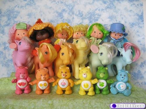 This sums up my favorite toys: Carebears, My Little Pony and Strawberry Shortcake!