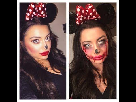 Minnie Mouse to Zombie Minnie Makeup (αποκριες - halloween) - YouTube