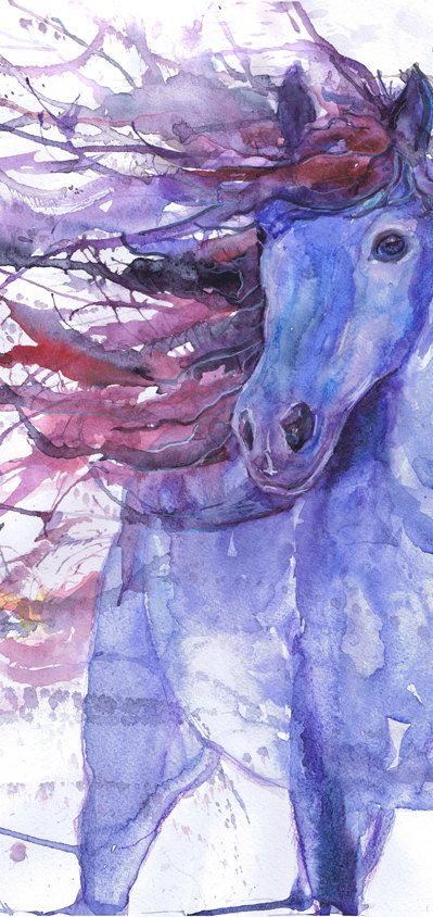 Horse art print abstract horse painting farm animal by ValrArt