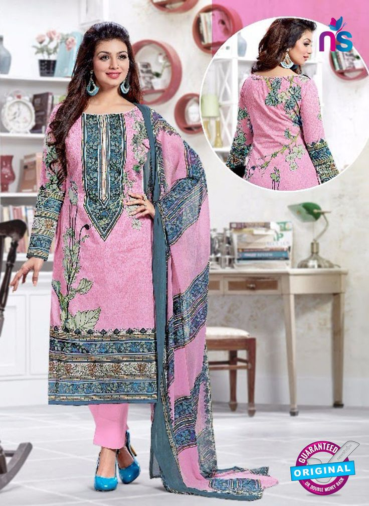 SC 13224 Pink and Blue Silk Crape Straight Suit