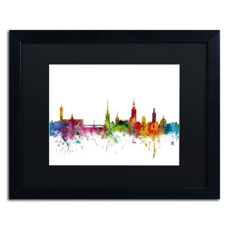 Stockholm Sweden Skyline by Michael Tompsett Framed Graphic Art in Black