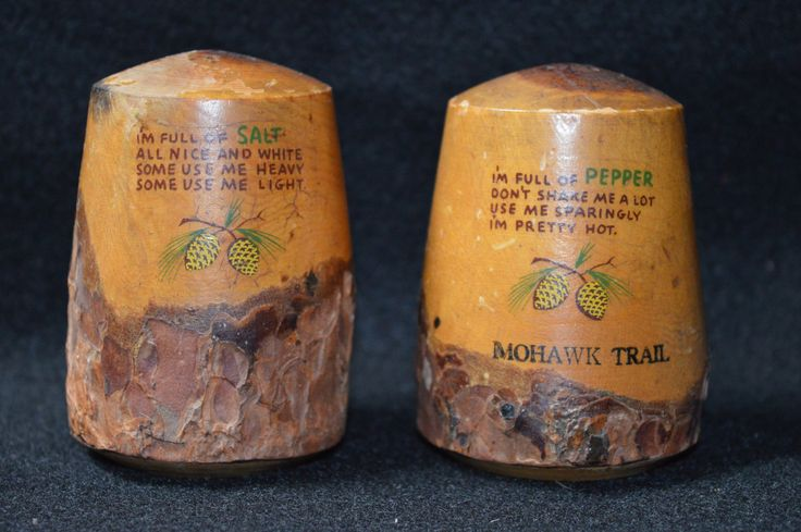 Vintage Wood Souvenir Salt and Pepper, Hand Painted Salt and Pepper set Mohawk Trail, Vintage Condiment Set with Cute Poems by FabulousVintageStore on Etsy
